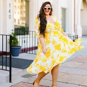Yellow Floral Faux Wrap Dress